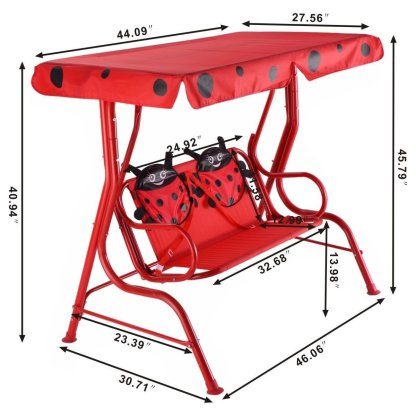 Kids Patio Swing Chair Children Porch Bench Canopy 2 Person Yard Furniture Red