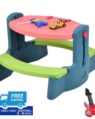 Plastic Height Adjustable 2-in-1 Children Drawing Table Chair Set