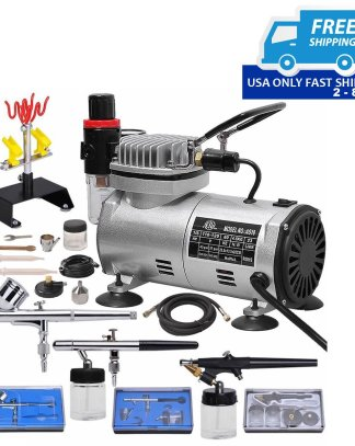 3 Airbrush & Compressor Kit Dual-Action Spray Air Brush Set