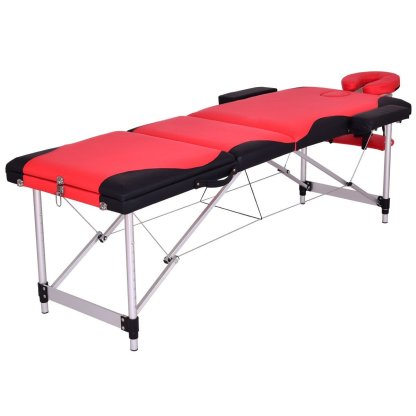 """Black&Red 72""""L Portable Massage Table w/Free Carry Case"""