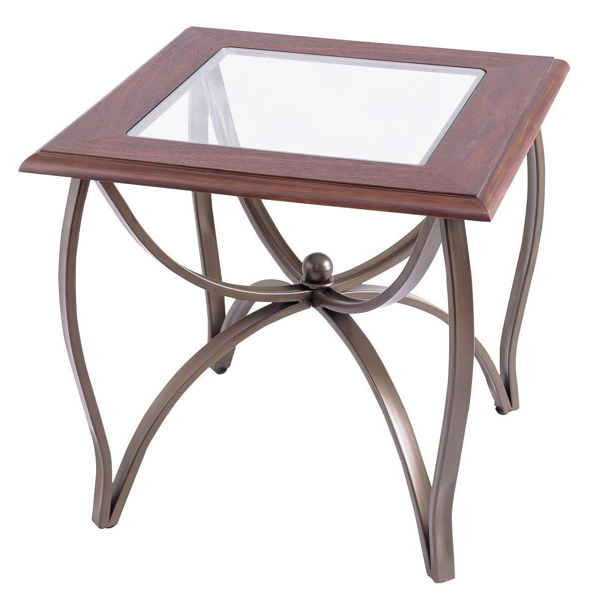 3 Pcs Elegant Wood Glass Coffee Table Set