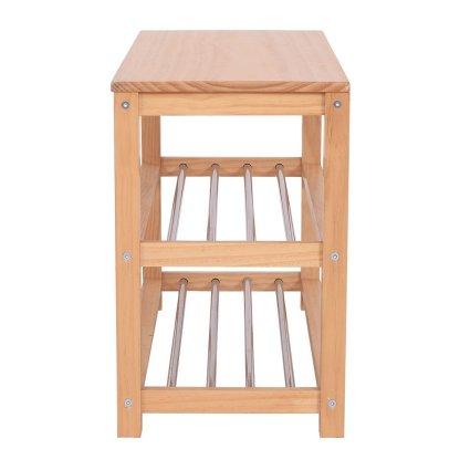 3-Tier Wooden Shoe Rack Storage Bench