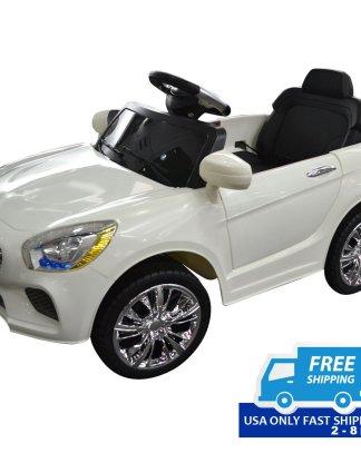 6 V Kids Ride on Car w/ RC + LED Lights + MP3-White