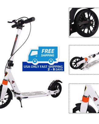 Height-Adjustable Dual Suspension Folding Kick Scooter