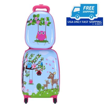 "Blue 2Pc 12"" 16"" Kids Luggage Set Suitcase Backpack School Travel Trolley ABS"