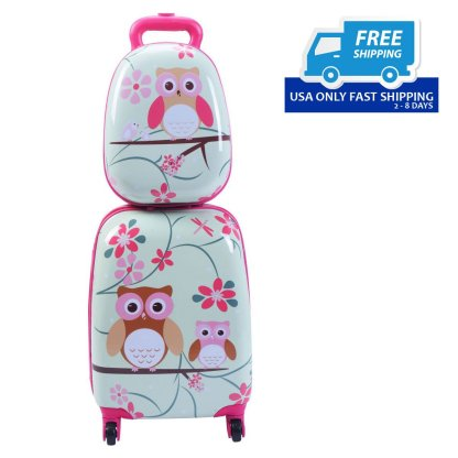 "Green 2Pc 12"" 16"" Kids Luggage Set Suitcase Backpack School Travel Trolley ABS"