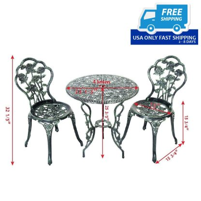 Cast Aluminum Bistro Rose Furniture Set Green