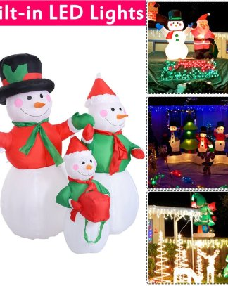 4 ft Waterproof Inflatable Snowman Family Christmas Decoration