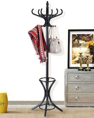 Wood Standing Hat Coat Rack w/ Umbrella Stand