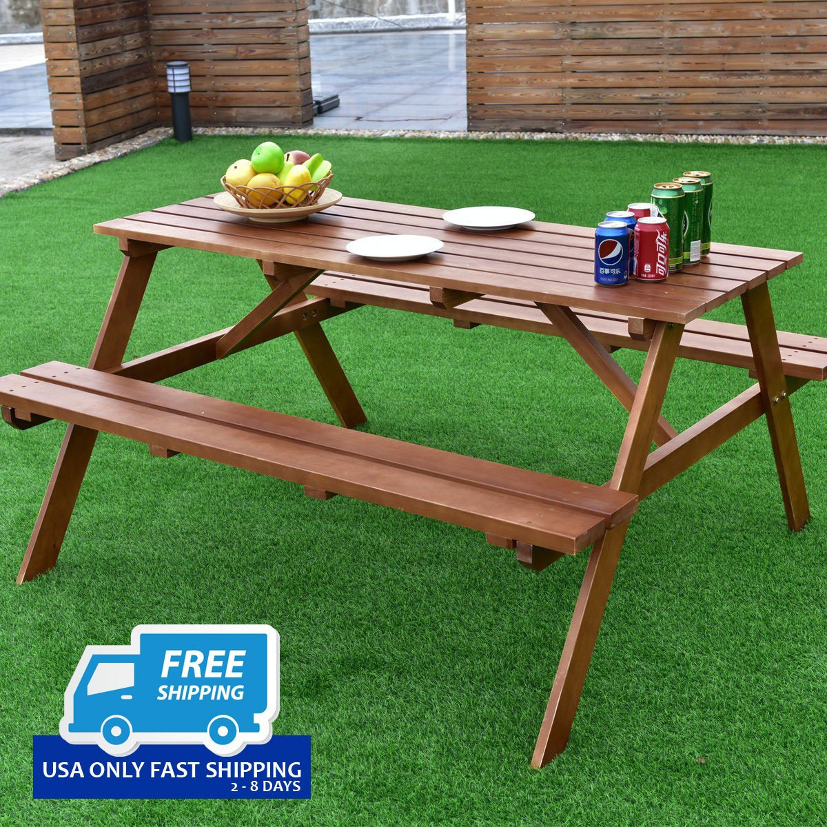 Outdoor solid pine wood picnic table w attached bench by choice outdoor solid pine wood picnic table w attached bench watchthetrailerfo