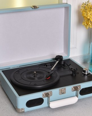 Blue Vintage Vinyl Record Player