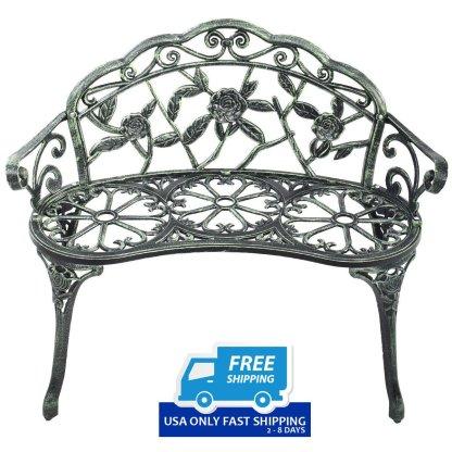 Outdoor Cast Aluminum Patio Bench Antique Rose