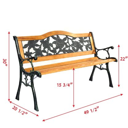 Outdoor Cast Iron Patio Bench Rose