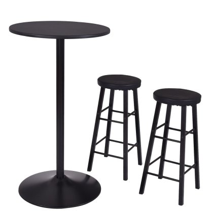 3 pcs Round Bar table Set w/ 2 Stools Bistro Pub