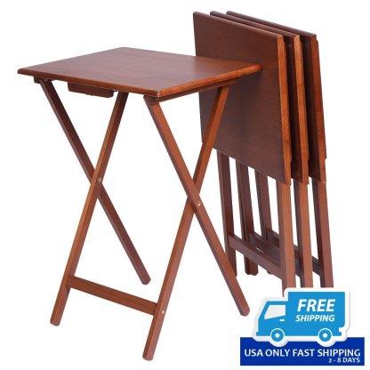 Set of 4 Wood Portable Folding Tables