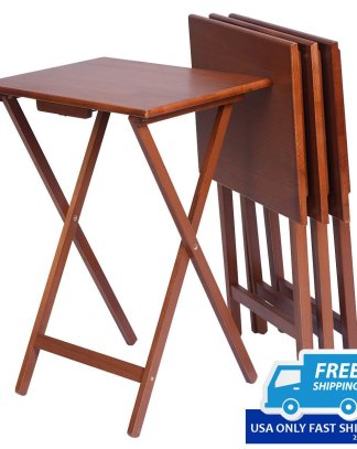 Set of 4 Wood Portable Folding Tables
