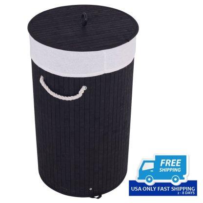 Round Bamboo Hamper Laundry Basket