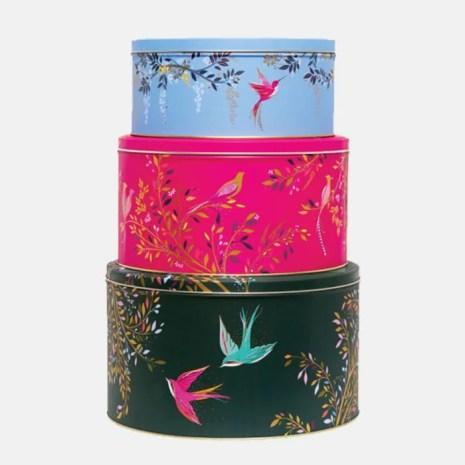 Sara Miller Hummingbird Round Cake Tins, Set of 3, Assorted