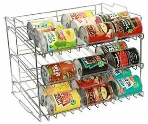 Amtido 3 Tier Stackable Can Rack Holder - Kitchen Organiser for Canned Goods
