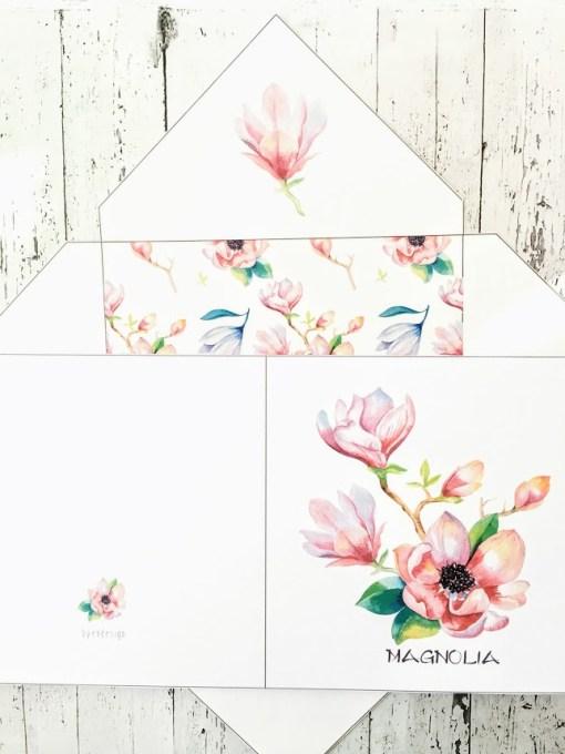 Magnolia - dobbelt kort 13x13 med konvolutt