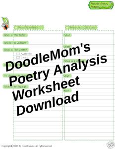 DoodleMoms Poetry Analysis Worksheets