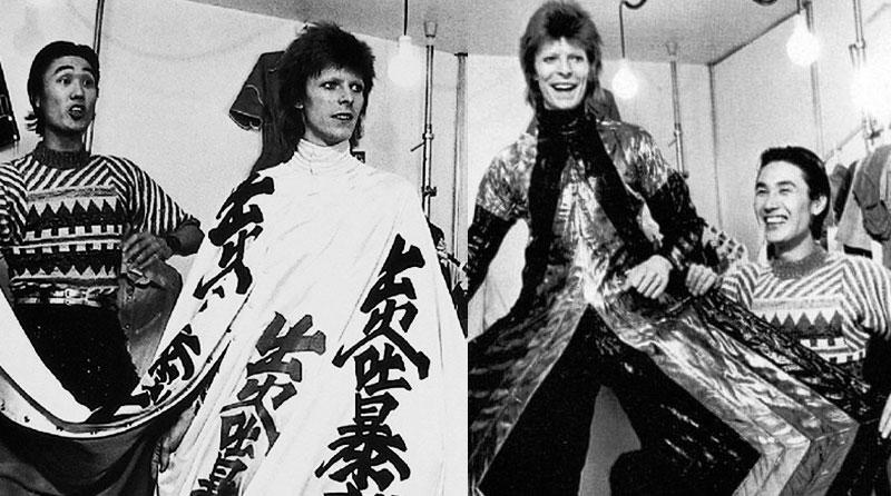 Bowie con el diseñador Kansai Yamamoto.