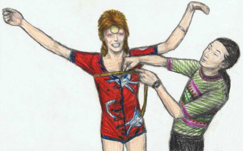 """Ilustración del gran dibujante Gagambo con un Kansai Yamamoto tomando medidas a Bowie para uno de sus trajes el de """"los conejitos"""" para la gira de 1972 de Ziggy Stardust."""