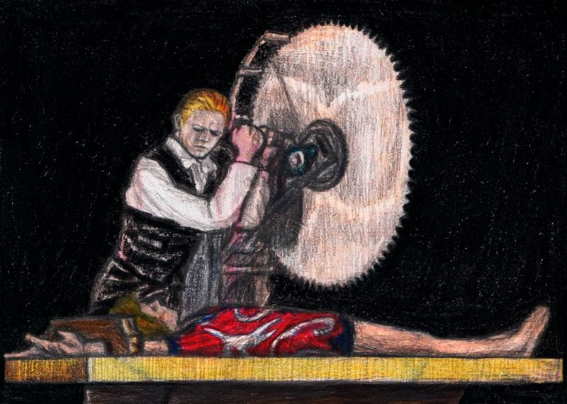 """si nos ponemos exquisitos, tomad nota de que aquí el artista gráfico ignora al personaje de Halloween Jack con su parche y su disco Orwelliano """"Diamond Dogs"""" que en riguroso orden va detrás de Ziggy, pero Gagambo considera no sin cierta razón que H.Jack no fue tan relevante como el personaje de """"The Thin White Duke"""""""