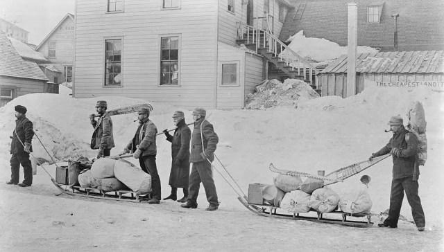 Men Heading for Yukon for Gold Rush. Alaska 1896.