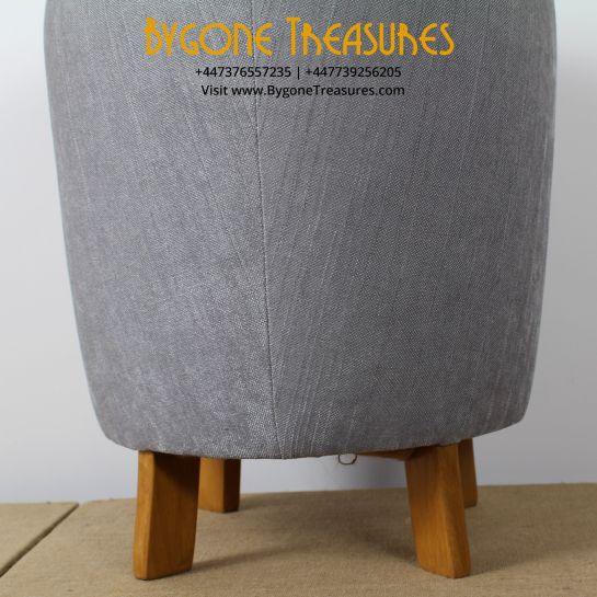 Reupholstered Silver And Grey Stool – 1970's