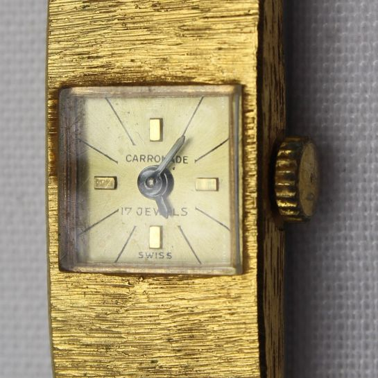 Vintage Carronade Swiss Made Ladies Gold Plated Wristwatch 17 Jewels