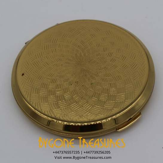 Engine Turned Ladies Brass Powder Compact Stylish Art Deco Design