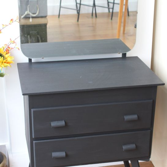Small Vintage Black Chalk Paint Dressing Table