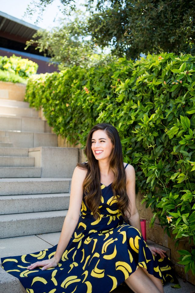 Banana dress from Modcloth with yellow heels