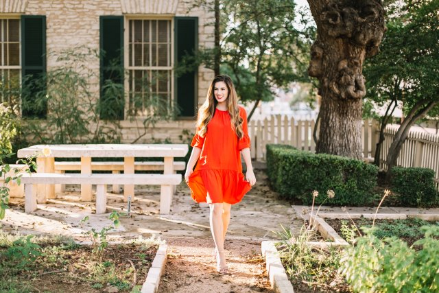 Red drop waist holiday party dress and sparkly bow heels | By, Hilary Rose | Austin Blogger | Holiday Style