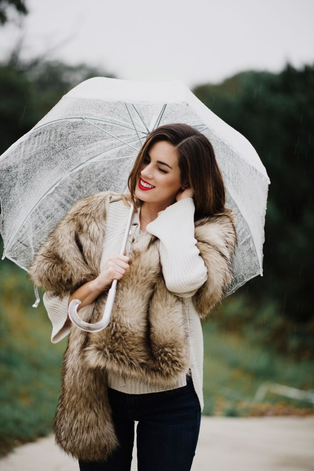 Austin Blogger By, Hilary Rose in a faux fur wrap by Royal Scout & co.