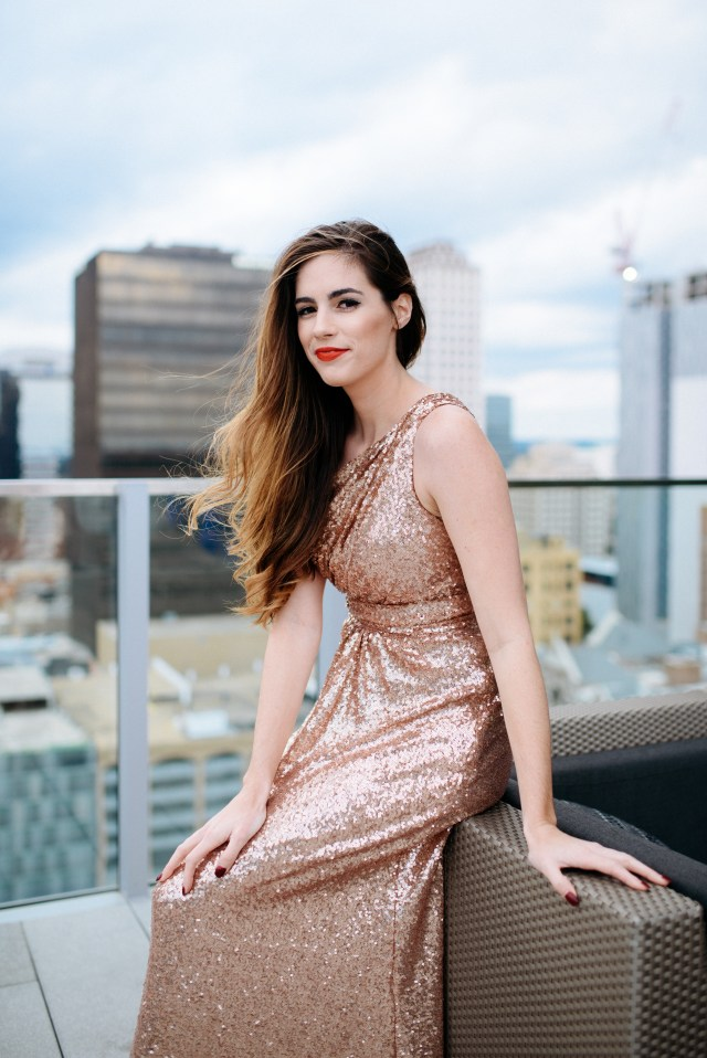Rose gold sequin party dress with one shoulder, By, Hilary Rose, Austin Texas at the Westin Downtown