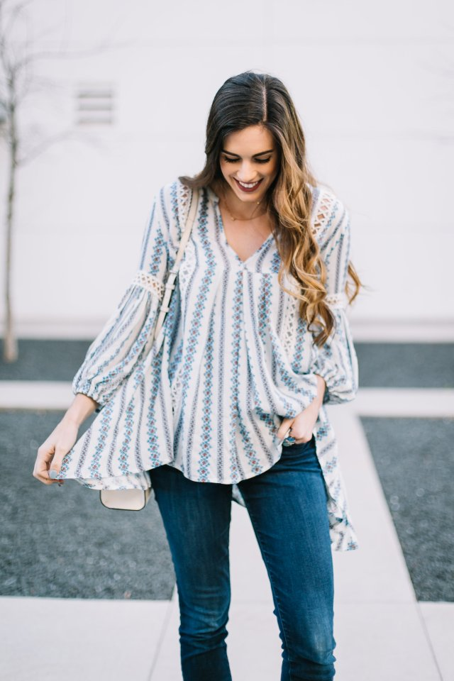Spring boho tunic | Chichwish blue and white tunic with jeans and booties and Henri Bendel bag | By, Hilary Rose Austin Texas blogger