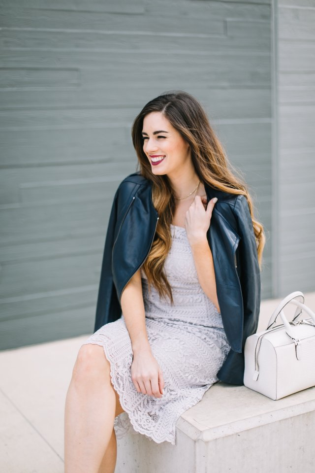 5-simple-ways-to-be-more-polite-by-hilary-rose-leather-jacket-lace-midi-dress-and-henri-bendel-bag-austin-fashion-blogger-spring-style-womens-fashion