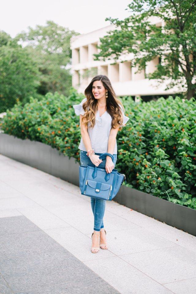 Blue Jeans distressed denim Henri Bendel tote madewell blue top steve madden heels Austin Texas summer