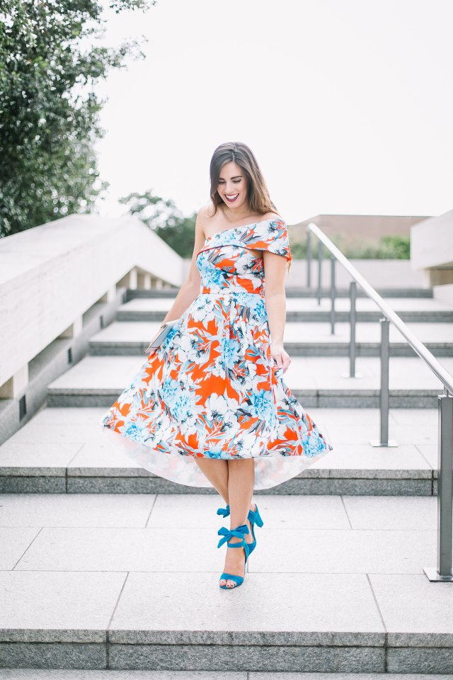 ASOS floral blue red midi dress lace up heels Rebecca Minkoff clutch how to look expensive on a budget