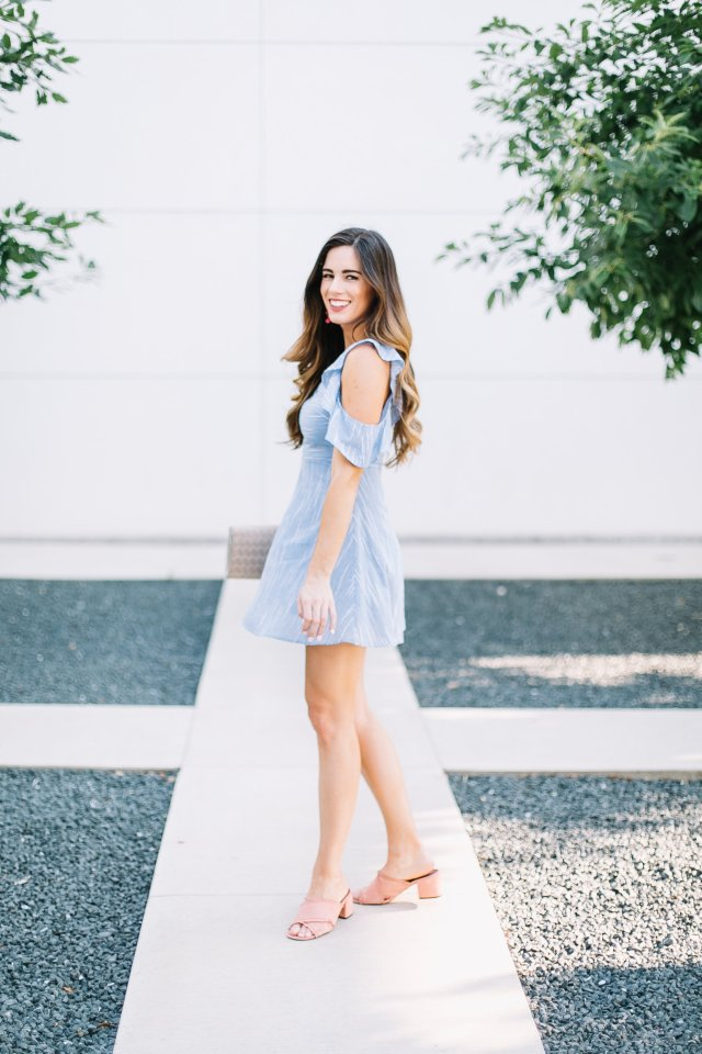 your new flattering polished mini dress baby blue with stripes straw clutch sachin and babi beaded drop earrings fit and flare dress cold shoulder ruffles nordstrom dusty rose steve madden slide sandals