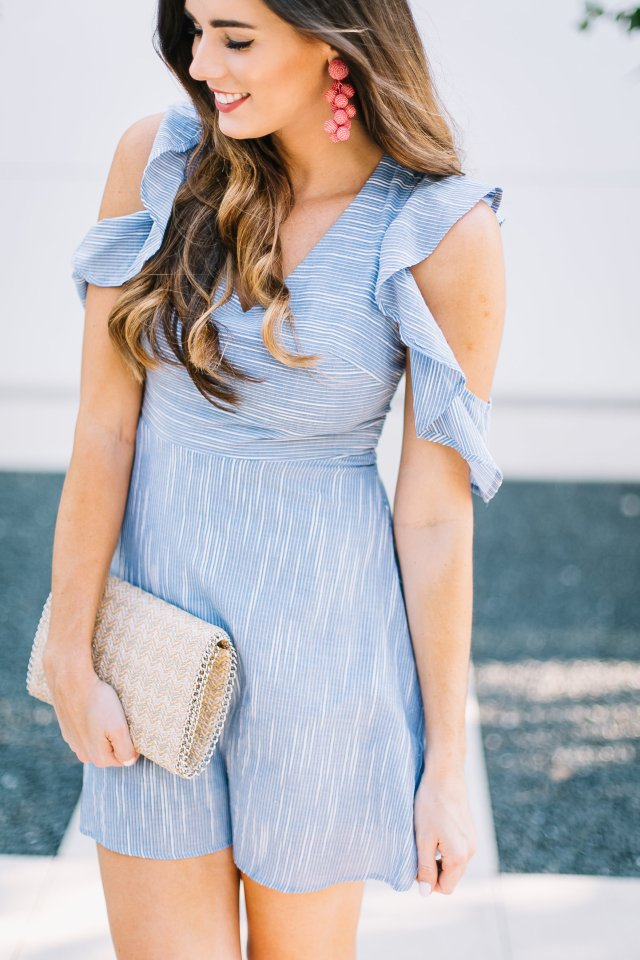 your new flattering polished mini dress baby blue with stripes straw clutch sachin and babi beaded drop earrings fit and flare dress cold shoulder ruffles nordstrom