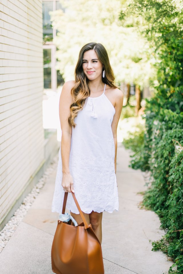 vineyard vines sundress with scallop hem detail brown tote rebecca mink off scarf kate spade fiesta fringe earrings summer style women outfit inspiration