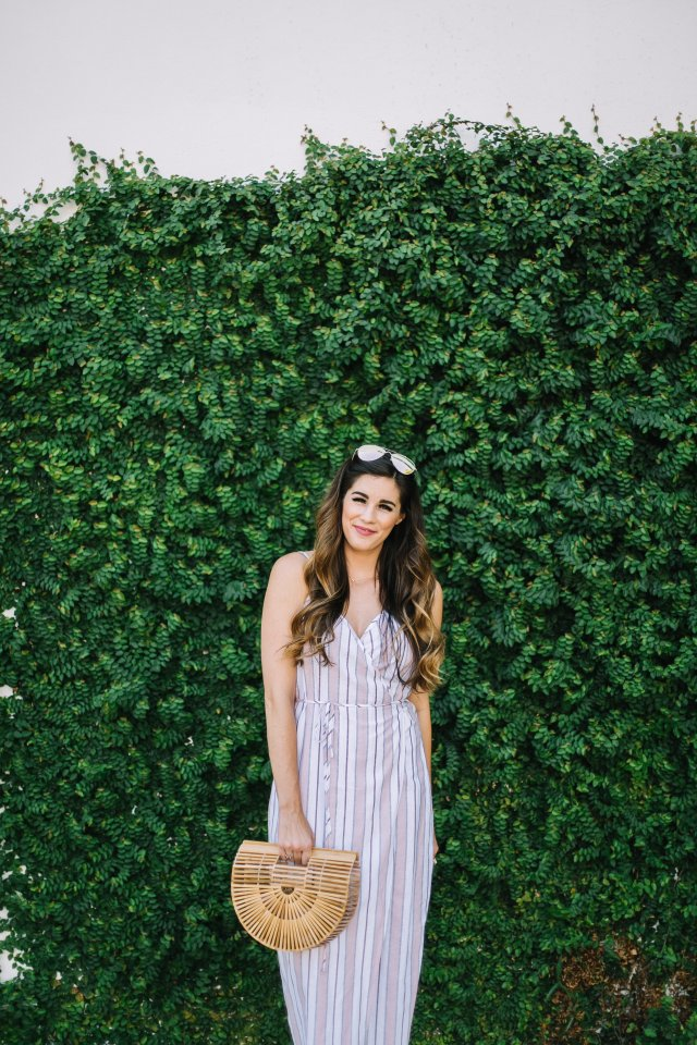 wrap dress linen wardrobe staple fall transition bamboo basket bag kendra scott lion ring TIJN eyewear aviators balayage hair