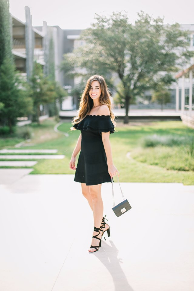 little black dress hendri bendel bag new arrivals lace up heels fall fancy outfit LBD ots dress Eliza J fit and flare dress