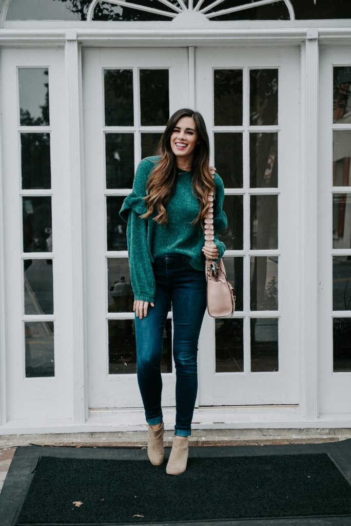 green chenille holiday sweater rainbow row charleston blogger christmas sweater henri bendel bag