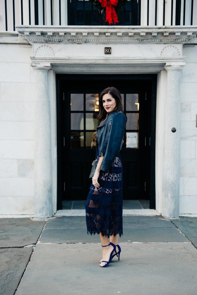 Foxie Dox Bravo Zulu Lacy Paneled Dress Nordstrom evening wear cutout dress sheer skirt midnight blue charleston blogger brunette blogger fancy date night party dress new years eve