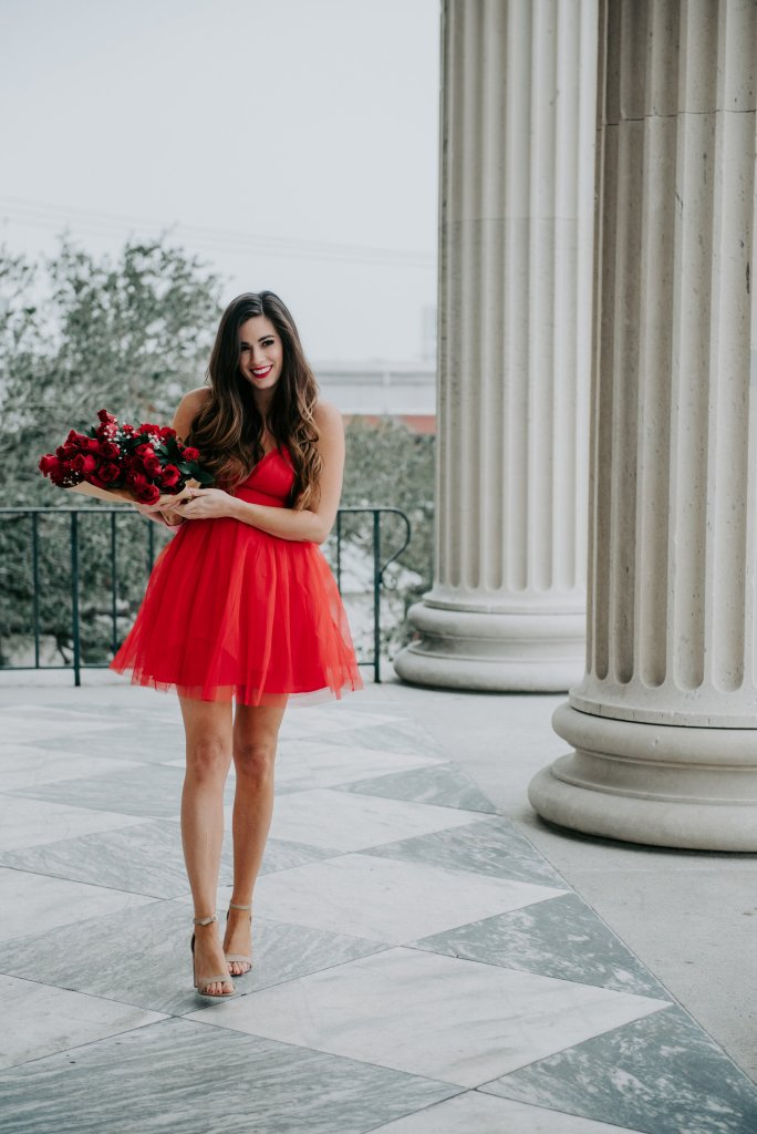 date night dress red dress mini asos going out tulle dress by hilary rose steve madden carrson heels fashion blogger nichole mickle photography chs