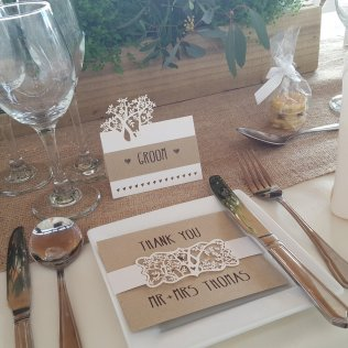 Rustic laser cut woodland stationery